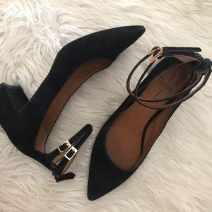 EUC Linea Paolo suede block heels